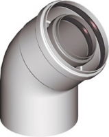 Коаксиальное колено 45°  для коаксиальных дымоходов
