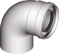 Коаксиальное колено 90° для коаксиальных дымоходов